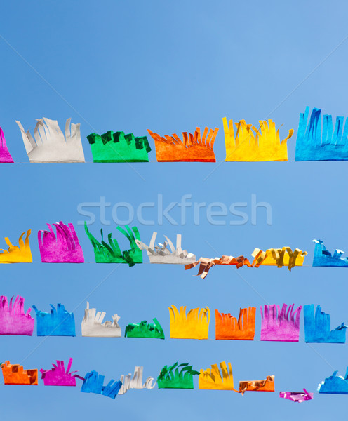 Színes papírzsebkendő papír girland kék ég Spanyolország Stock fotó © lunamarina