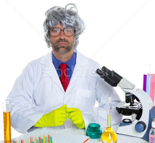 Stok fotoğraf: Inek · öğrenci · çılgın · bilim · adamı · adam · portre · çalışma