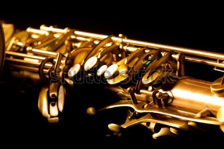 Szaxofon arany szaxofon makró szelektív fókusz fekete Stock fotó © lunamarina