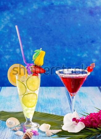 Stockfoto: Kleurrijk · tropische · cocktails · Blauw · hout · kokosnoot