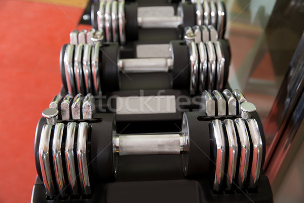 Foto stock: Ajustable · peso · pesas · atención · selectiva · primer · plano