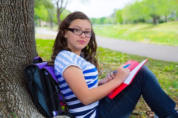 Intelligente studente teen girl scuola bag parco Foto d'archivio © lunamarina
