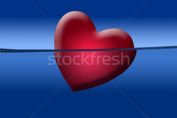 Red heart illustration shape sinking into the blue water  Stock photo © lunamarina