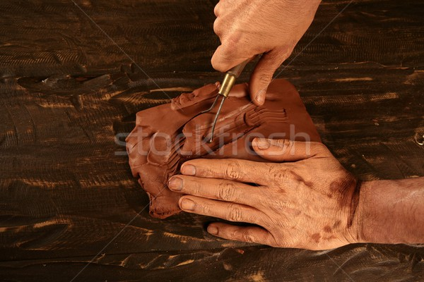 pottery craftmanship potter hands work clay Stock photo © lunamarina