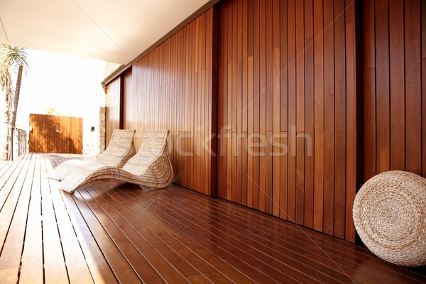 Golden wood spa hammock outdoor house Stock photo © lunamarina