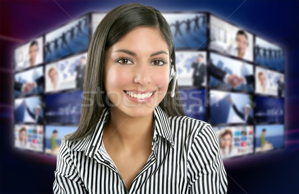 Stock photo: Beautiful indian woman television news presenter