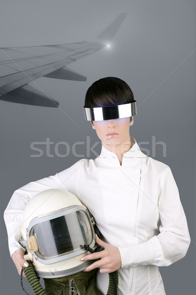 futuristic spaceship aircraft astronaut helmet woman Stock photo © lunamarina