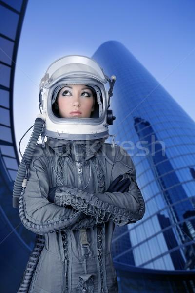 Samolotów astronauta statek kosmiczny kask kobieta moda Zdjęcia stock © lunamarina