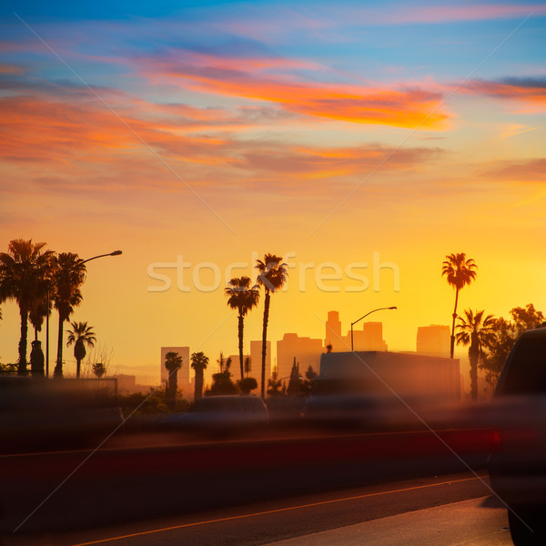 Stockfoto: La · Los · Angeles · zonsondergang · skyline · verkeer · Californië