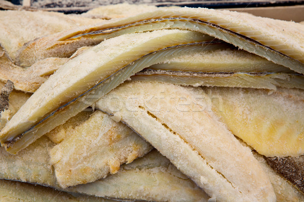 Cod fish salted codfish in a row stacked Stock photo © lunamarina