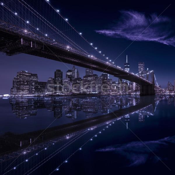 Brug zonsondergang New York Manhattan skyline ny Stockfoto © lunamarina