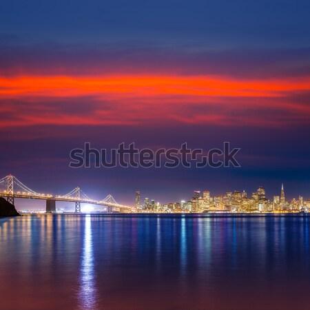 Pont coucher du soleil New York Manhattan ny affaires Photo stock © lunamarina