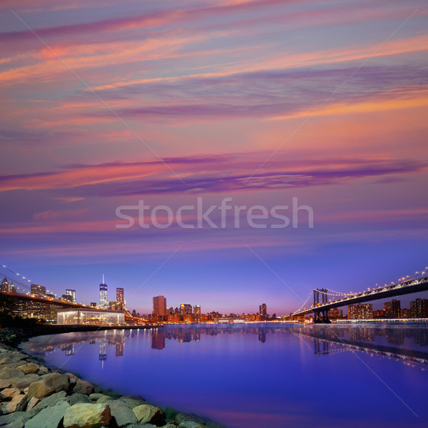 Pont Manhattan ponts coucher du soleil ny New York Photo stock © lunamarina