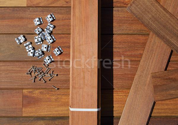 Convés madeira instalação textura casa retro Foto stock © lunamarina