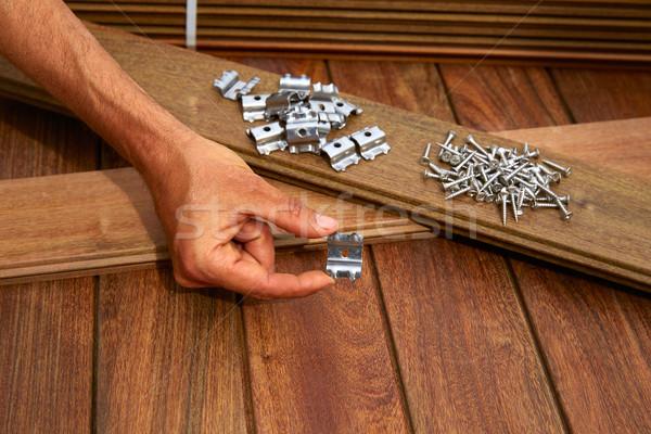 Pokład drewna instalacja tekstury domu tle Zdjęcia stock © lunamarina