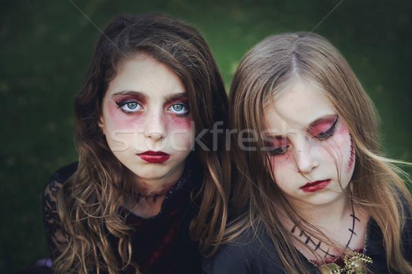 ハロウィン 化粧 子供 女の子 青い目 屋外 ストックフォト © lunamarina