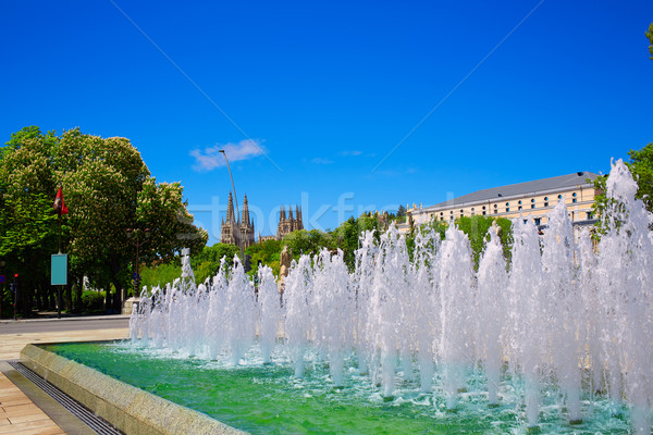 Burgos San Pablo bridge fountain and Cathedral Stock photo © lunamarina