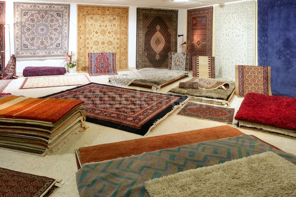 Arabic carpet shop exhibition colorful carpets Stock photo © lunamarina