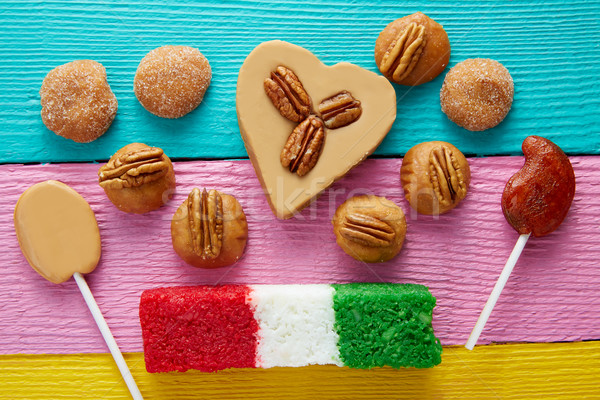 Mexican candy cajeta pecan coconut flag Stock photo © lunamarina