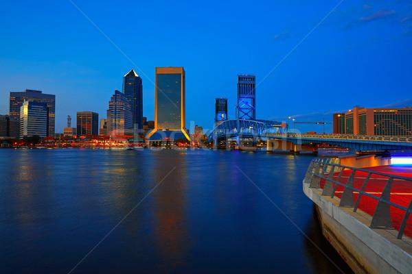 Linha do horizonte pôr do sol rio Flórida reflexão EUA Foto stock © lunamarina
