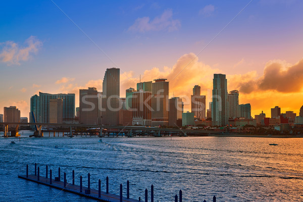 Майами центра Skyline закат Флорида США Сток-фото © lunamarina