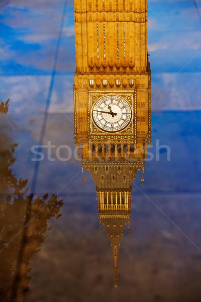 Big Ben Uhr Turm Pfütze Reflexion London Stock foto © lunamarina