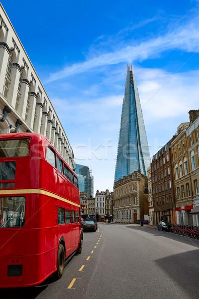 старые Лондон красный автобус Англии здании Сток-фото © lunamarina