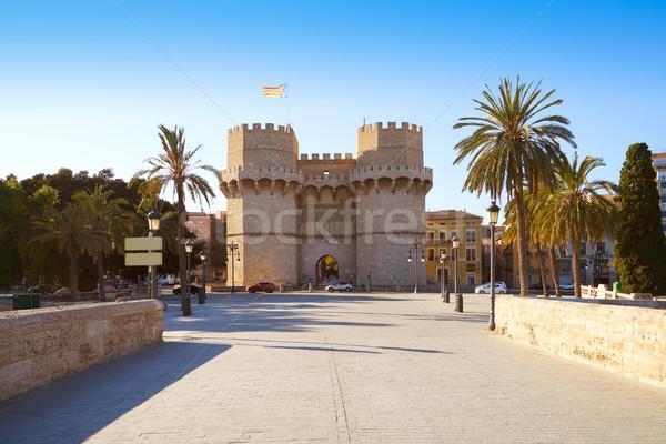 Türme Valencia alten Stadt Tür Stock foto © lunamarina