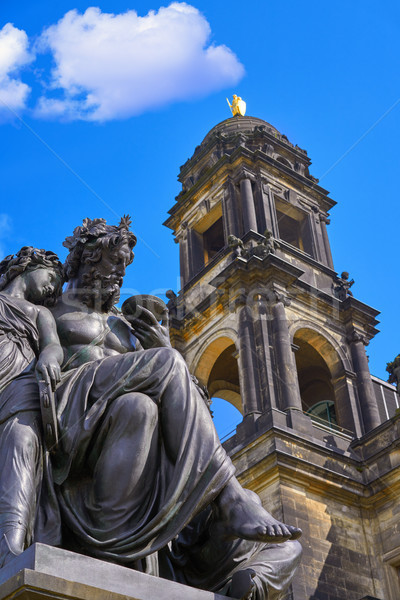 Сток-фото: Дрезден · статуя · Германия · небе · здании · улице