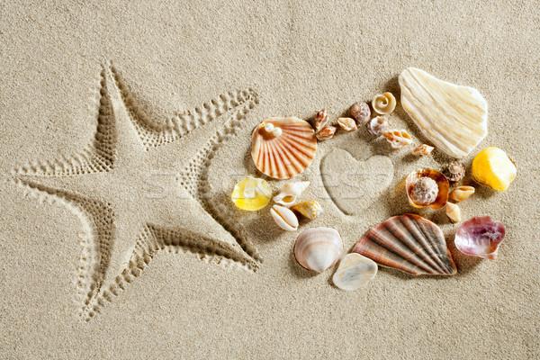 Photo stock: Plage · sable · blanc · forme · de · coeur · starfish · imprimer · été