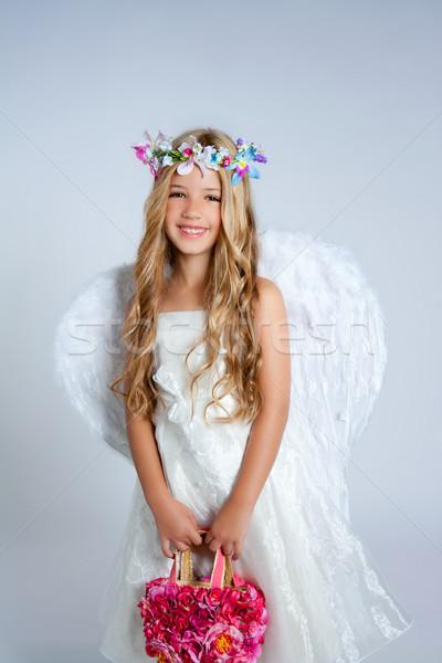 Stock foto: Engel · Kinder · Mädchen · halten · Blumen · Tasche