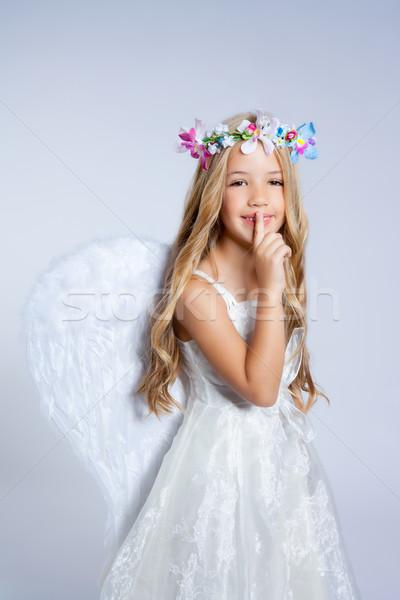 Stock photo: Angel children little girl sleeping finger in mouth
