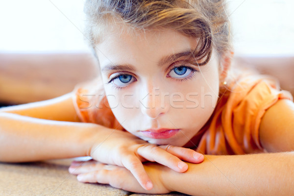 Blue eyes sad children girl crossed arms Stock photo © lunamarina