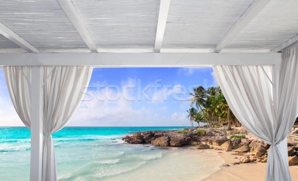Gazebo white in tropical Caribbean beach Stock photo © lunamarina