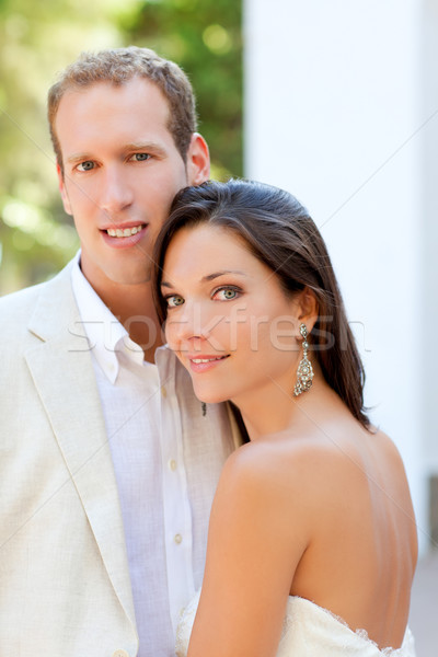 bride just married couple happy in outdoor Stock photo © lunamarina