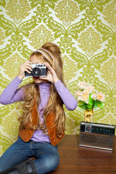 hip retro little girl shooting photo on vintage camera Stock photo © lunamarina