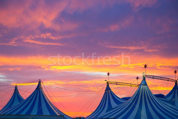 Stock fotó: Cirkusz · sátor · drámai · naplemente · égbolt · színes