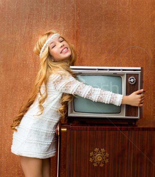 Stock fotó: Szőke · klasszikus · 70-es · évek · gyerek · lány · retro