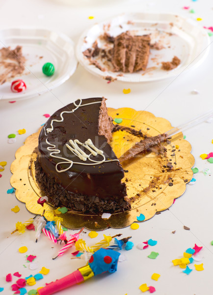 chidren end of party with half chocolate cake slices Stock photo © lunamarina