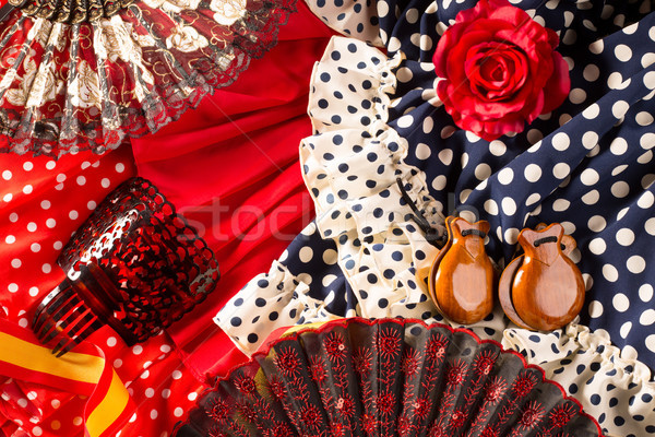 Espana typical from Spain with castanets rose flamenco fan Stock photo © lunamarina