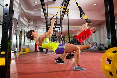 Stock photo: Crossfit ball fitness workout group woman and man