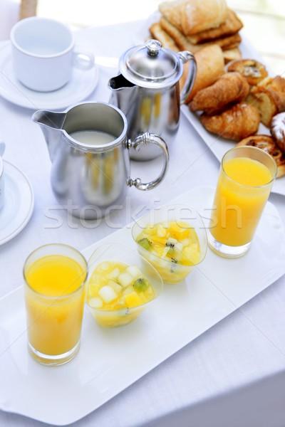 śniadanie sok pomarańczowy herbaty mleka piekarni Zdjęcia stock © lunamarina