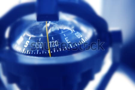 boat marine compass in black blue light backlight Stock photo © lunamarina