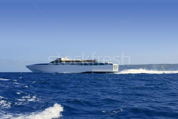 Balearic Islands fast speed Ferry on blue sea Stock photo © lunamarina