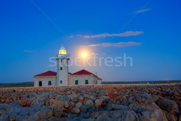 Ciutadella Menorca Punta Nati lighthouse moon shine Stock photo © lunamarina