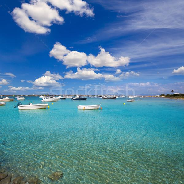 Formentera boats at Estany des Peix lake Stock photo © lunamarina