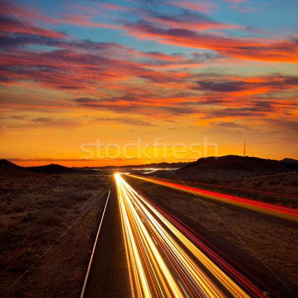 Arizona zonsondergang snelweg 40 auto licht Stockfoto © lunamarina