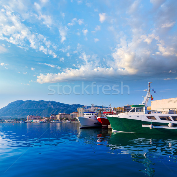 Denia Port fisherboats Montgo mountain in Alicante Stock photo © lunamarina