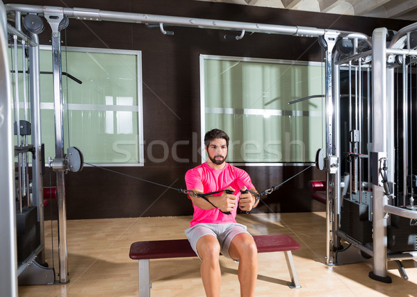 Sit cable crossover fly pulley flies man workout Stock photo © lunamarina