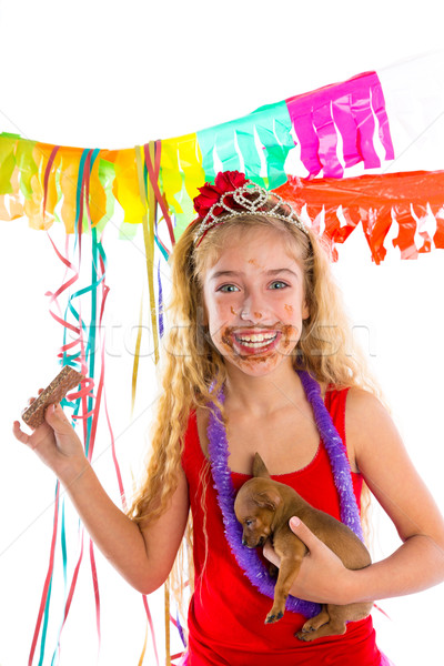 happy party girl puppy present eating chocolate Stock photo © lunamarina